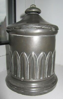 Antique Tea caddy pewter/spelter Victorian Gothic with lift off lid
