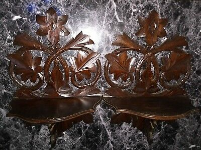 Pair Large Antique Victorian Black Forest Carving Folding Shelf Shelves What Not