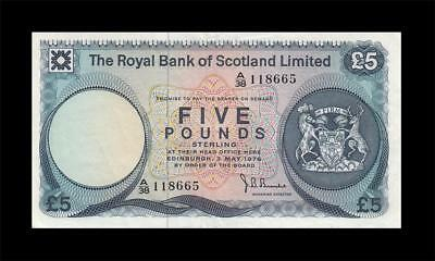 "3.5.1976 ROYAL BANK OF SCOTLAND 5 POUNDS ""Rare Date"" (( EF ))"