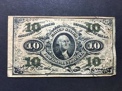 1863 United States Ten Cents Fractional Currency Note Third Issue