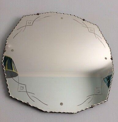 Vintage Art Deco Wall Mirror With Scalloped Edges 18 X 18 inches
