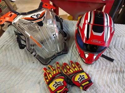 Motocross helmet chest protector gloves set Fox Thor DRZ KX NO RESERVE CRF XR YZ