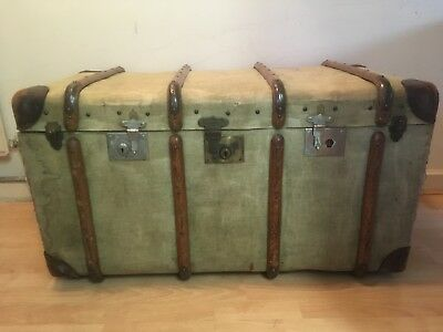old antique Steamer Trunk Canvas + Wood + Leather.