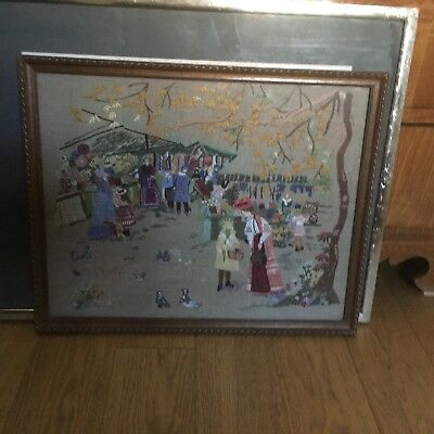 Vintage Embroidered Picture English / Miss Carter Came With Us / Helen Bradley