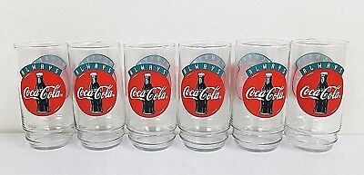 Coca Cola Always Graphic Clear Glass 5 3/4 Inches Set or Lot of 6