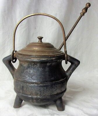 Vintage Antique Cast Iron Cape Cod Fire Started Cauldron Brass Lid Witch's Pot *