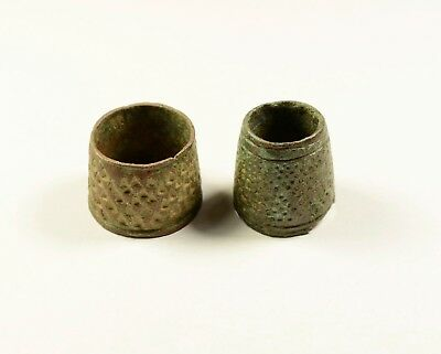 Ancient Bronze Thimble Ring - Well Preserved - Lot Of 2