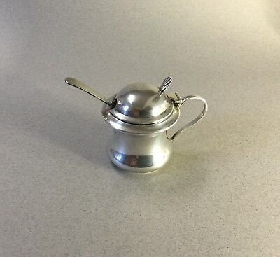 Antique Solid silver mustard pot blue glass with spoon. Birmingham 1919