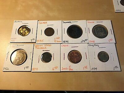 18 World Coins! 2 Silver! .3390 Ounces of Silver! Great Mix!