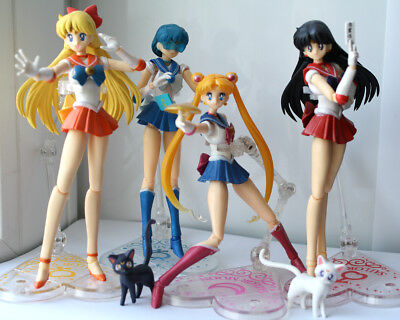 "Anime Pretty Guardian Sailor Moon Figuarts 6"" Set Of 4 Action Figure Collect"
