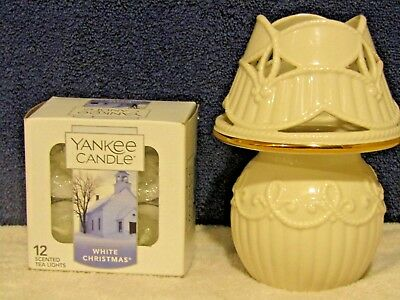 NEW Lenox Candle Lamp & Yankee Candle WHITE CHRISTMAS tealights