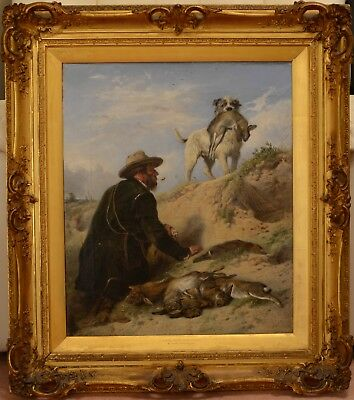 Fine Large Antique 19th Century Ferreting On Lytham Sands Oil Painting ANSDELL