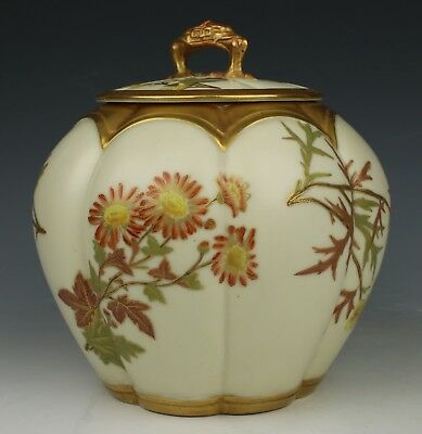19C Royal Worcester 1412 Melon Cracker Jar WorldWide