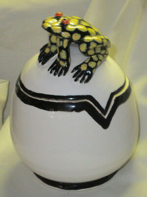 Cute Ceramic Coverd Jar w/ Black & Yellow Spotted Frog Signed Abbitt 1997