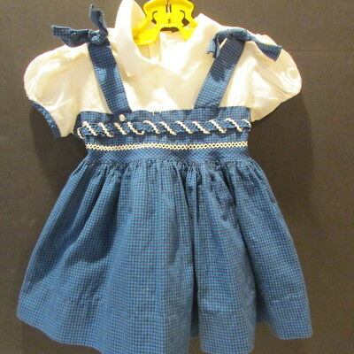 Vintage Baby Toddler 12 mos Blue Black Check 1950's 12 mos?