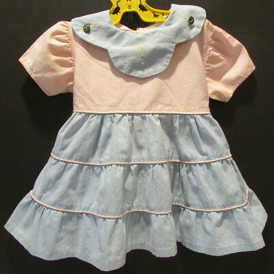 True Vintage Baby Toddler Dress 1950's Pink and Blue  18 24 mos Toddler Size