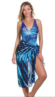 a99e4a19c3 MIRACLESUIT PALM READER BEACH Scarf Pareo Cover-Up Surf Blue Cover Up $102  New