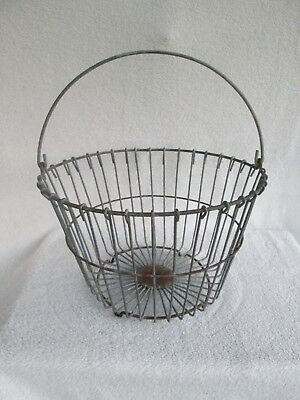 """Vintage Metal Wire Egg Basket-Country Farm House Decor-9 3/4"""" Tall x 14 1/2 Wide"""