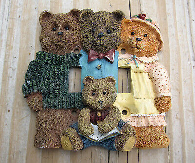 Cute Teddy Bear Family dual Light Switch Cover Plate