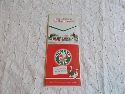 Sinclair Oils~service station map of Texas-Oklahoma-New Mexico-Mexico~1956