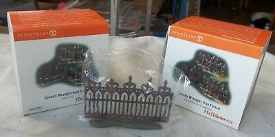 Lot of 2 Dept 56 SPOOKY WROUGHT IRON FENCE Set of 6 12 total HALLOWEEN 56.52982