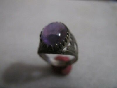 Antique Late Medieval Silver Ring With Amethyst Stone