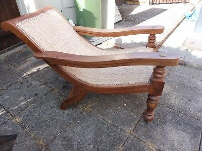 British Colonial Planter's Plantation Chair in Original Condition