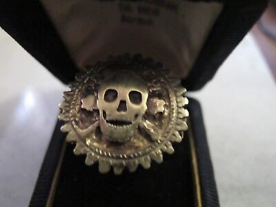 Antique Late Medieval Bronze Gold Plated Memento mori Skull Box Ring