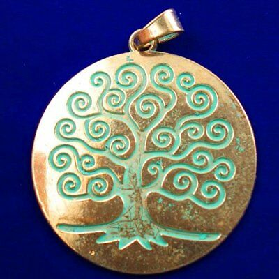 Carved Brass Bronze Tree Round Pendant Bead 66x2mm L82130