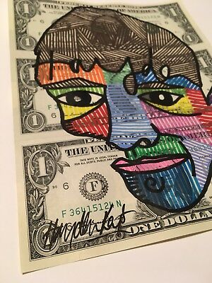 Hayden Kays - SIGNED - Unique Acrylic Painting Face Dollar ART - banksy is fan