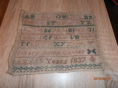 BEAUTIFUL ANTIQUE NEEDLEWORK SAMPLER by Mary Anne Davies, 9yrs, in 1837