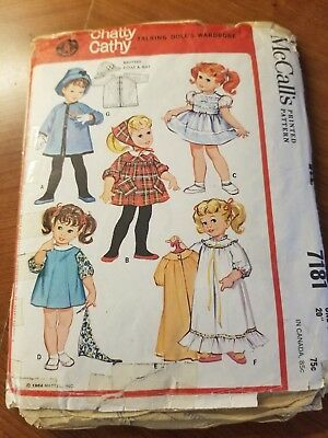 "McCalls Mattel Vintage 1963 Pattern 7181 20"" Chatty Cathy Doll Clothes Uncut"