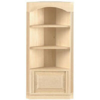 Dollhouse Miniature 1:12 Unfinished Wood 3-Shelf Corner Bookcase by Houseworks