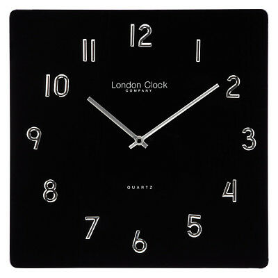 London Clock Company Square Glass Wall Clock, 35cm rrp £50