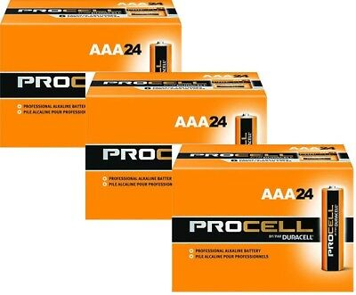 New Duracell Procell Aaa Alkaline Batteries 72 (3 Boxes Of 24) Exp 5+ Yrs 004133