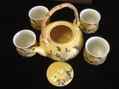 5 piece Japanese Tea Set Pot Cups Lid Handle Chinese Asian Beautiful Traditional