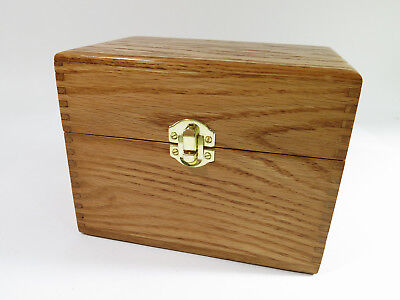 "Vintage Refinished Solid Oak 4""x 6"" Index Card Filing Box."