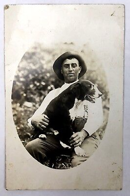 Antique 1913 RPPC Real Photo Postcard UNCLE ALBERT AND HIS DOG