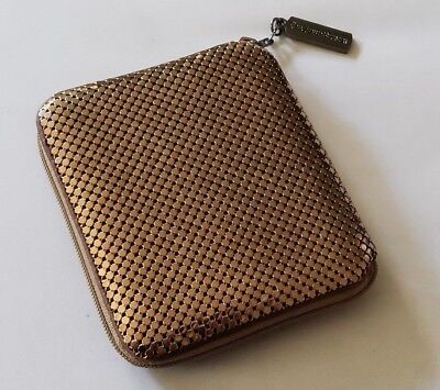 Vintage Whiting & Davis Gold-Bronze Mesh Zipped Bifold Wallet