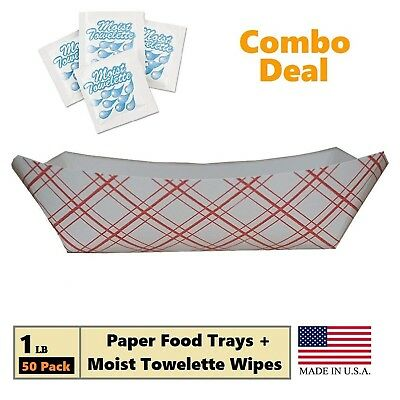 Paper Food Tray, 1 lb Red Plaid on White Nacho, Fries, Hot Corn Dogs, Take Out