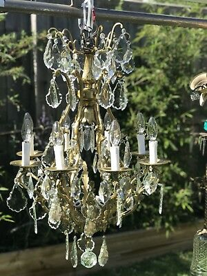 French 8 Branch Chandelier Lead Crystal  Drops Antique Huge Brass