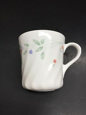 Corelle English Meadow Cup Mug Blue Trim Red Yellow Flowers