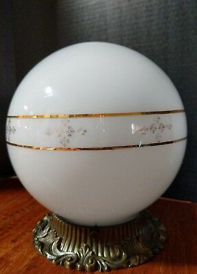 Vtg Mid Century Hollywood Regency Globe Ceiling Light Fixture Glass Brass White