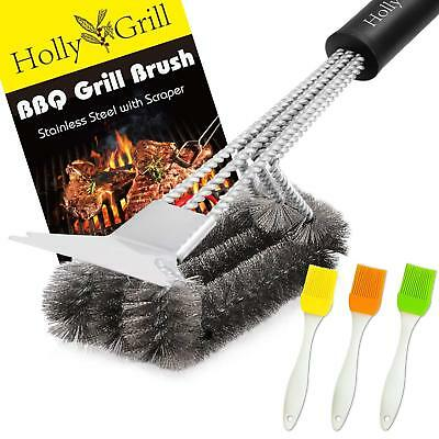 Stainless Steel Grill Brush and Scraper - BONUS 3 Silicone BBQ Brushes 18''