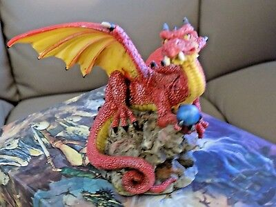 Myths & Legends Rare Red Dragon Blue Ball Hand Painted Statue by W.U. ( 2000 )