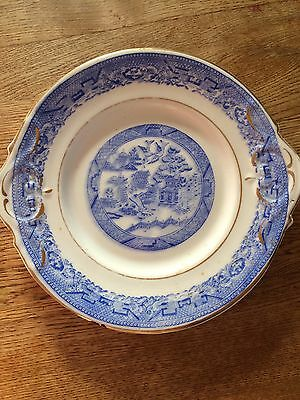Antique Cobalt Blue and White Willow pattern gold rim cake plate Two Handled