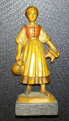 Anri Vintage Wooden Dairy Maid Miniature Very Sweet MINT CONDITION!