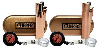 """Clipper Metal Cigarette Lighter """"Rose Gold"""" Collection With RPD Lighter Lasso"""