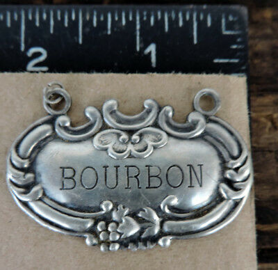 Bourbon Bottle Tag American Sterling Silver Antique -W-