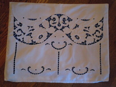 """VTG Antique HdMd Pillow Sham COVER 15""""x20"""" CUTWORK White EMBROIDERY SNAP CLOSE"""